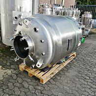 1200 Liter heiz-/kühlbarer Druckbehälter aus V4A mit Magnetrührer
