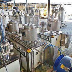 Temperierbare Mischanlage für Kosmetik / Cremes aus V2A (30 Liter Rührwerksbehälter, 2x 15 Liter Schmelzbecken)